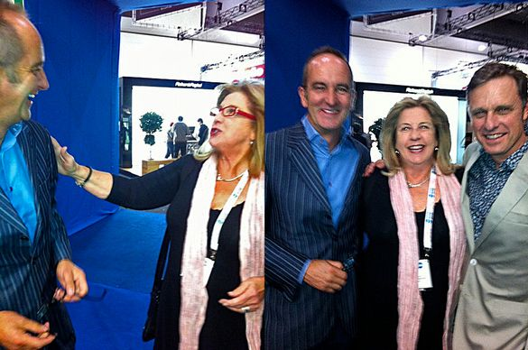 Kevin McLeod of Grand Designs fame having a laugh with Pam Batrouney from Melbourne Plantation Shutters, and standing with Peter Maddison, award-winning architect and host of Grand Designs Australia.