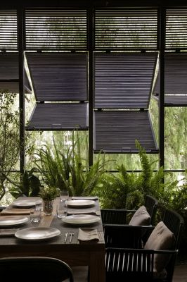 Outdoor dining space shutters