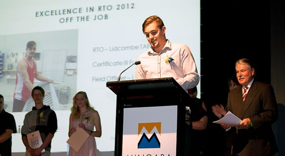 Aidan Lee winning the TAFE award for 2012
